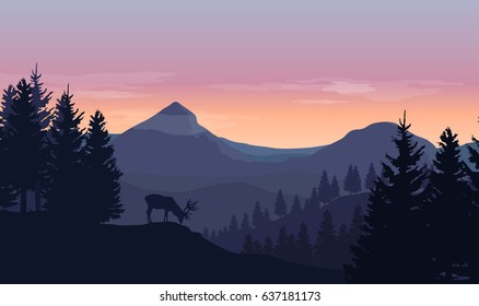 Landscape with silhouettes of mountains, hills, trees and wild deer with sunrise or sunset sky - vector illustration