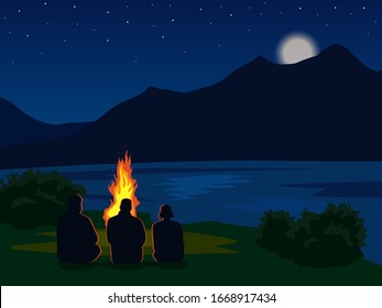 landscape with silhouettes of mountains, lake, river and stars in the sky. Night mountain landscape with silhouettes of people around the fire. Vector illustration for hike, track, camp