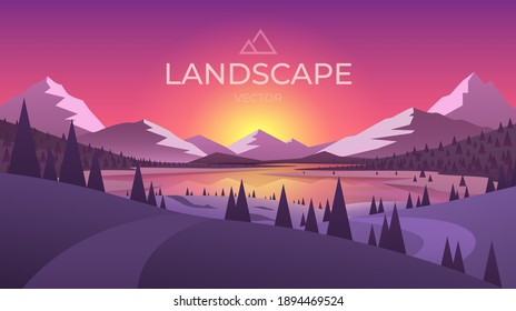 Landscape with silhouettes of mountains and Mountain river. Nature background. Vector illustration.
