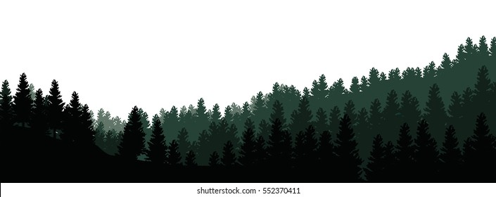 Landscape with silhouettes of trees in the forest on white background - vector illustration