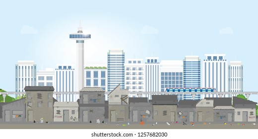 Landscape of slum city or old town slum on urban city landscape with contemporary buildings, gap between poverty and richness, conceptual vector illustration.