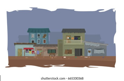 landscape of slum city or shanty town vector