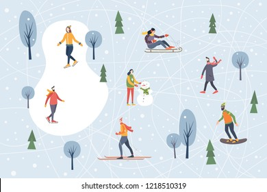 Landscape with snow-covered trees and walking people. Winter outdoor activities and sports. Skating, skiing, snowboarding, sledding. Happy winter holidays. Festive seasonal vector illustration.
