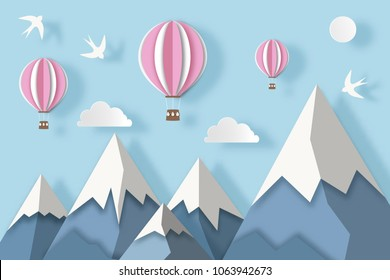 Landscape with snowy mountains, hot air balloons, clouds and birds. Paper art digital craft style. Vector illustration