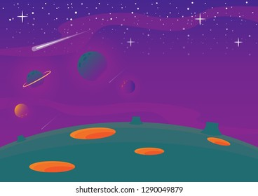 Landscape of space and galaxy with purple and green color background.