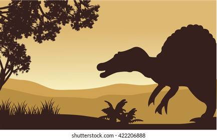 Landscape of spinosaurus in hills with brown backgrounds