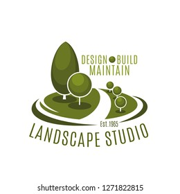 Landscape studio green park trees icon for landscaping build, maintain and design service. Vector parkland green nature or forest square for horticulture eco association and landscape company