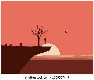 Landscape Suicide vector illustration. Deadly life and depressed vector illustration.
