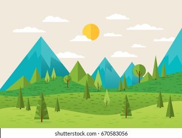 Landscape. Summer landscape. Morning in the mountains. Background nature.