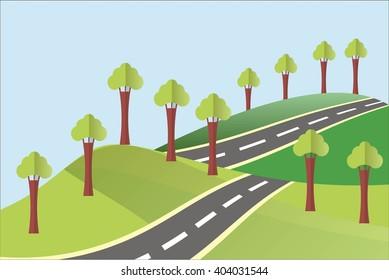Landscape in the summer or spring. Green hills, a grey asphalt road, clear blue sky, trees. Modern flat design, design element, vector