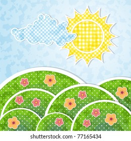 Landscape with sun, cloud and flowers with patchwork effect