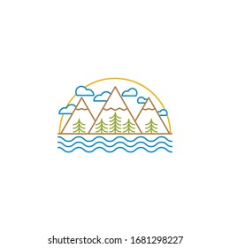 Landscape sun, clouds, mountains, trees, river