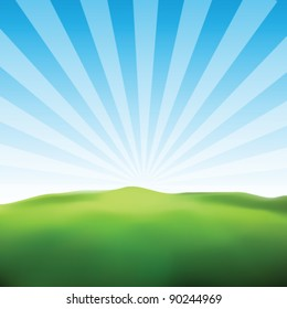 Landscape Sunny Ray Background Vector
