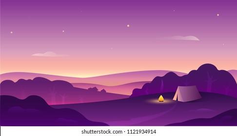Landscape at sunset, Camping concept, vector illustartion