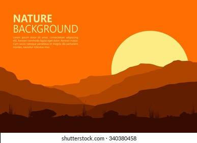 Landscape with sunset in huge mountains. Vector illustration.