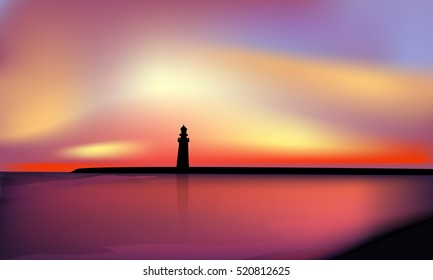 Landscape with sunset, lighthouse vector