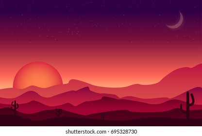 Landscape Sunset on a background of a mountain landscape with desert and cactus