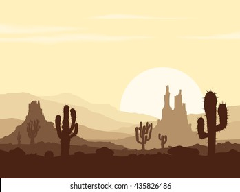 Landscape with sunset in stone desert with cactuses and rocky mountains. Vector illustration.