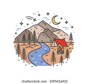 Landscape with tent and campfire in woods on river bank against beautiful mountains and night sky on background. Camping and adventure travel location. Colored vector illustration in line art style