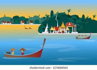 Landscape of Thailand temple in countryside with river and tourist boaton sky background.
