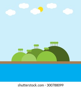 landscape with  tree river cloud sun and green mountain, vector illustration
