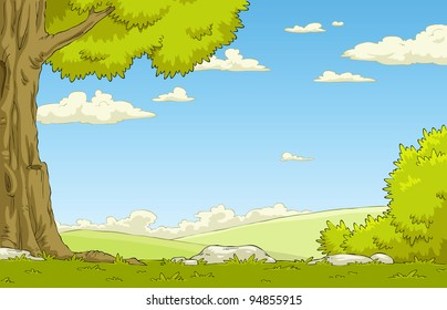 Landscape with tree and shrub, vector illustration