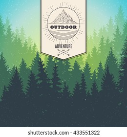 landscape of tree silhouette; vector Illustration with grunge effect; abstract nature, forest, camping background with mountain retro logo; summer outdoor park; banner template