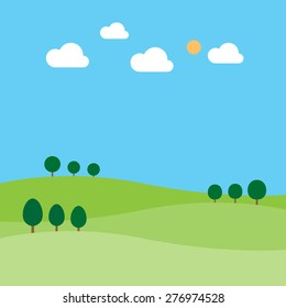 Landscape with trees clouds sun and hill, vector illustration