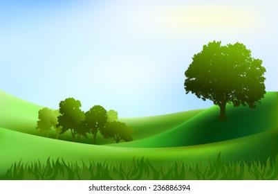 landscape trees hills background illustration