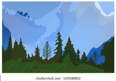 Landscape with trees, hills and field for the tourism. Vector graphic illustration