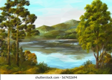 Landscape, Trees on the Shore of a Mountain Lake, Low Poly. Vector