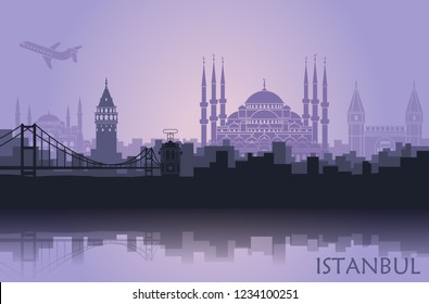 Landscape of the Turkish city of Istanbul. Abstract skyline with the main attractions