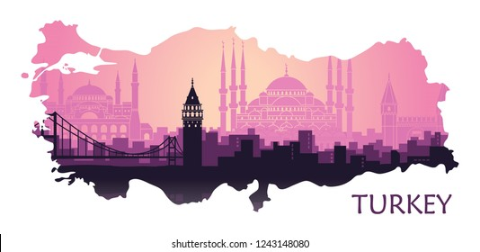 Landscape of the Turkish city of Istanbul. Abstract skyline with the main landmarks in the form of a map of Turkey
