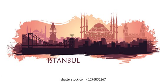 Landscape of the Turkish city of Istanbul. Abstract skyline with the main landmarks. Stylized landscape with spots and splashes of paint