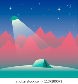 Landscape with UFO, tent and mountains at night with moon and stars