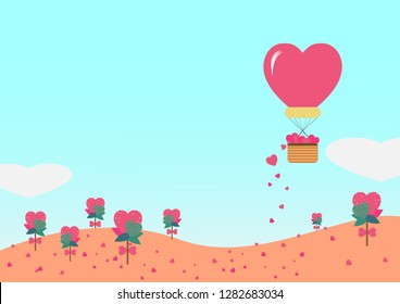 Landscape of valentine's day with balloon scattering heart seed on blue background.