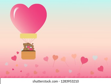 Landscape of valentine's day with teddy bear in balloon on sky background.