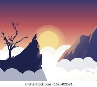 Landscape vector art. wolf Howling art. Halloween   landscape sunset art. mountain view point art