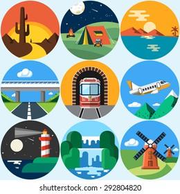 Landscape Vector Flat Icons