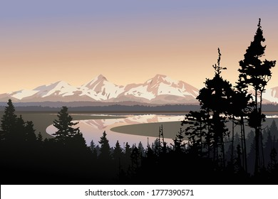 Landscape vector illustration, beautiful nature view over large meandering river, distant mountains and forest. Silhouettes of trees and snow capped peaks in the morning. Travel hike to national park