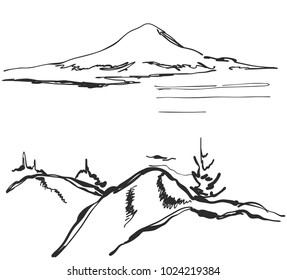 Landscape vector illustration. Hand drawn mountains sketch