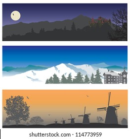 Landscape. Vector set