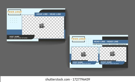 landscape video template, dimensions 16: 9, with a navy color scheme, suitable for live video broadcasts,for live broadcast alone or join