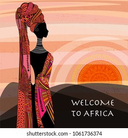 Landscape view of Africa with young african woman looking to mountains and rising sun. Vector illustration. Use it as a basic image in travel industry and nature's notes.