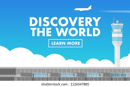 "Landscape view of the airport terminal with air traffic control tower (ATC tower) and plane flying in the sky with copy space for text""discovery the world"""