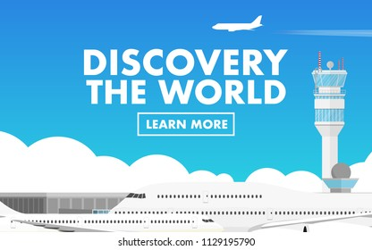 """Landscape view of airport terminal with air traffic control tower and airplane(plane) in the airport and in the sky with copy space for text """"Discovery the world"""" in the sky"""