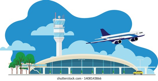 Landscape view of the airport terminal building with atc tower with plane flying in sky in minimal design style and the yellow cap(taxi) on the service road