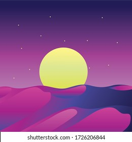 Landscape view of desert at sunset vector design