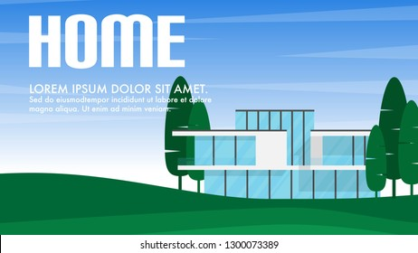 Landscape view of modern architecture house with tree in minimal style with copy space for text