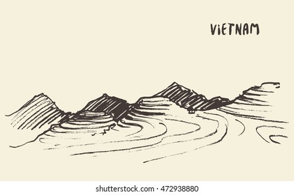 Landscape view of rice fields Mu Cang Chai, Vietnam, vector illustration, sketch